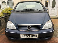 2003 MERCEDES A160 AUTO 63000 L0W MILES./vw gold /audi a3/a4/mazda 323/ford focus/307/406/focus