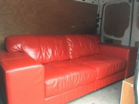 Red Leather Sofa, 3 seater.