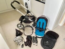 icandy peach pushchair with icandy liner parasol cosy toes bug net raincover & car seat adapters