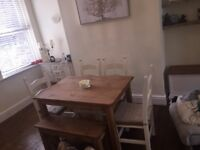 Shabby chic dining table bench & 4 chairs