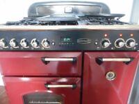 "Rangemaster""classic delux""dual fuel range cooker in cranberry."
