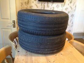 2 part worn Bridgestone Turanza tyres 215/60/R16