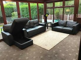 Black Leather 3 And 2 Seater Sofas + Chaise With Storage Good Condition
