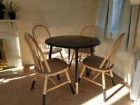Dining Round Table and 4 Chairs Handpainted Black Wooden Pine Wood