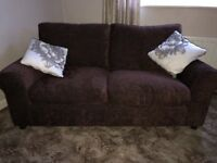 NEW! 6 weeks old Argos Tessa 3 seater sofa and matching chair, chocolate brown.
