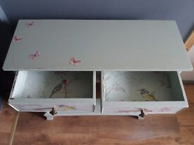 """Small wooden unit. Painted in sage green, wallpaper detailing. H 30""""x L 30""""x W 11"""" size"""