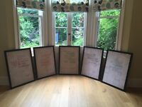 5 x STUNNING literary prints in black wood frames (wedding props, penguin books)