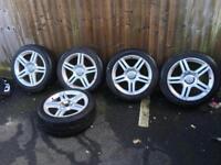 Audi A4 s line alloys x 5 5x112 7.5x17 235/45/17 nearly new tyres