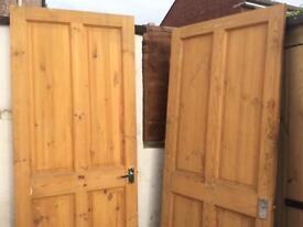 Pine doors old antique x 2 76x198cm