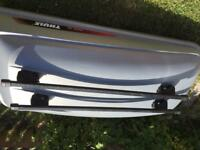 Thule roof box, roof bars and 3 different footpacks