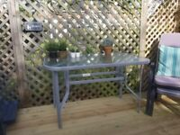 DACOTA FIELDS CORVIN Steel & Glass outdoor table