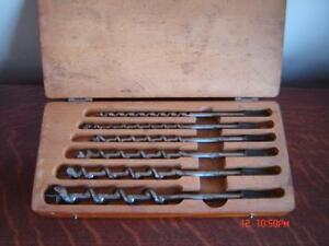 Boxed Set of Vintage Auger Bits From C I Fell - Very Nice Shape!