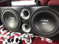 2 x vibe blackair subwoofers in vibe box 2800 watts