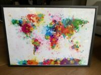 World Map Watercolor Art in Frame