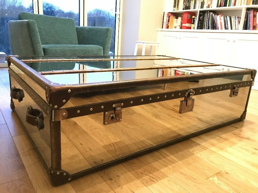 Steel And Leather Mirrored Coffee Table Chest Large