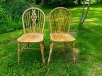 2 pine wheelback kitchen chairs
