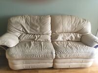 Cream leather recliner suite