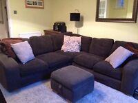 Huge, comfortable corduroy corner sofa plus foot stool with storage!
