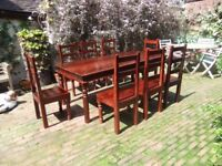 Dining table and eight chairs