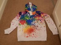 Very Colourful Paint Splat Effect Hoodie size LARGE