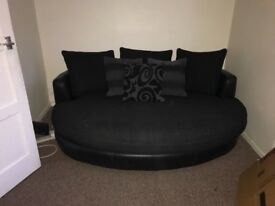 Cuddler sofa and 2 seater settee black/grey