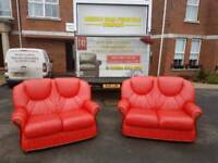 red leather 2×2 seater sofa