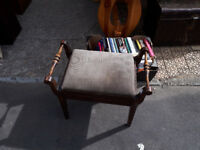 EDWARDIAN PIANO TWIN HANDLED PIANO STOOL WITH MUSIC STORAGE COMPARTMENT IN YEOVIL