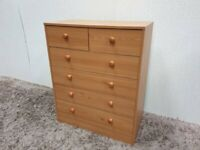 Pine Effect MDF Chest of 6 Drawers Bedroom Storage Used Furniture
