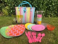 Colourful Picnic Basket | 4 Person Set | With Cups, Plates, Cutlery