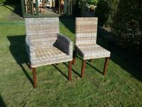 2 matching basket weave chairs for garden room, conservatory or bedroom etc.