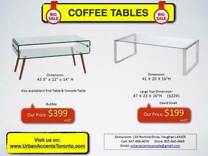COFFEE TABLES. CONSOLE TABLES. FURNITURE SHOWROOM SALE. BRAND NEW IN BOX. OCCASIONAL TABLES.