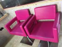 Salon chairs USED. HOT PINK LEATHER CHAIRS