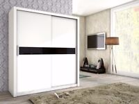 NEW 2 Sliding Door Wardrobe White Black Oak