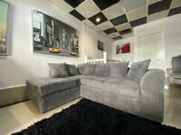 Jumbo grey chord corner sofa