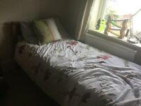 Ikea Leksvik extendable bed and quality mattress, extends to full length, with Vyssa Vinka mattress