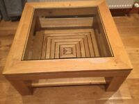 Oak and glass M&S coffee table
