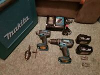 Makita 18V Impact And Combi Drill Twin Pack 2x 4.0Ah Battery