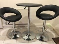 Black Faux Leather round Bar Table and TWO Bar stools