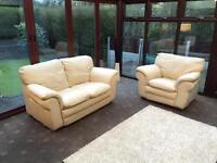 Cream Leather 2 + 1 Seater Sofa Set Good Condition