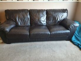 Leather Brown Sofa Set
