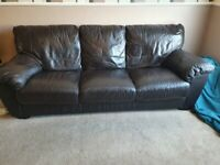 Leather Brown Sofa 3 seater