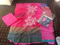 Huge clearance 80% off designer wear three pcs LILEN with shawl /lawn wedding embroidered UNSTITCHED
