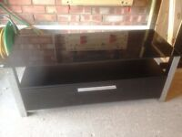 Black TV unit with drawer - H39cm, W98cm, D49cm