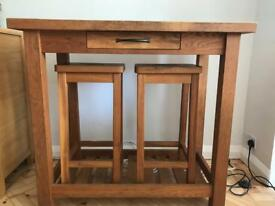 Solid oak breakfast console table and 2 solid oak bar stools