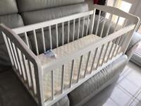 Baby Cot and Mattress - Swinging Crib White