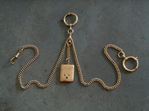 Antique Watch Chain Twin Chain With Photo Medallion/Pendant 1oz/18 5/16in (I)