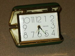 Vintage Bulova Folding Travel Alarm Clock Green w/ Gold Trim