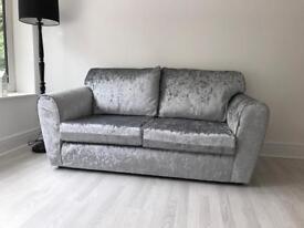 3&2 seater brand new silver crushed velvet sofa settees