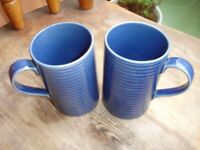 2 Blue Ceramic Mugs