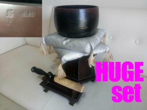 "Marked HUGE 8.504"" Japanese Vintage Buddhist Bell Machine-pounded Forged HG13set"